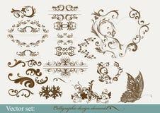 Kalligrafische ontwerpelementen en paginadecoratie Stock Afbeelding