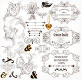 Kalligrafische ontwerpelementen en paginadecoratie Stock Foto's
