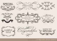 Kalligrafische ontwerpelementen, paginadecoratie Stock Afbeeldingen