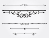 Kalligrafische ontwerpelementen of regellijnen stock illustratie