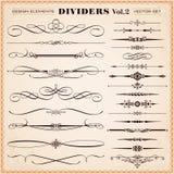 Kalligrafische Ontwerpelementen, Verdelers en Streepjes Royalty-vrije Stock Afbeelding