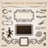 Kalligrafische uitstekende heraldisch. Vector frame Stock Foto's