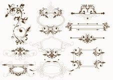 Kalligrafische uitstekende vectorelementen Stock Afbeeldingen