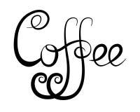 Kalligrafische van letters voorziende Koffie stock illustratie
