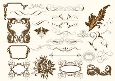 Kalligrafische vector geplaatste elementen Royalty-vrije Stock Foto