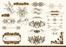 Kalligrafische vectorontwerpelementen Stock Foto's