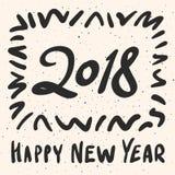 2018 kalligrafiuttryck för lyckligt nytt år med grungebeståndsdelar Modern handskriven bokstäverdesign Royaltyfria Foton