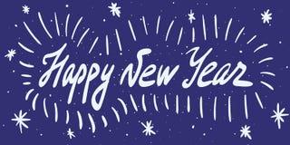 Kalligrafiuttryck för lyckligt nytt år Modern handskriven bokstäver Arkivbild
