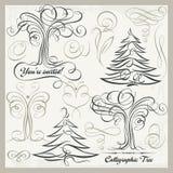 Kalligraphie-Baum-Schmetterlings-Gestaltungselemente Clipart-Satz, Lizenzfreie Stockfotografie