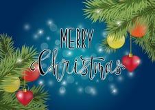 Kalligraphie der frohen Weihnachten auf blauem Hintergrund Stockbild