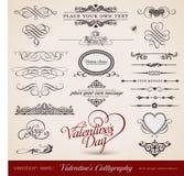 Kalligraphie des Valentinsgrußes Stockfotos