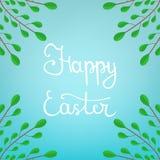 Kalligraphie, die glückliche Ostern-Aufschrift auf blauem Hintergrund beschriftet Schöner Blumenrahmen von den grünen Niederlassu vektor abbildung