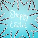 Kalligraphie, die glückliche Ostern-Aufschrift auf blauem Hintergrund beschriftet Schöner Blumenrahmen von Willow Branches Vektor lizenzfreie abbildung