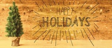 Kalligraphie frohe Feiertage Retro- Weihnachtsbaum, Schneeflocken Lizenzfreie Stockbilder
