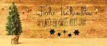 Kalligraphie, Gutes Neues bedeutet guten Rutsch ins Neue Jahr, Retro- Weihnachtsbaum, Schneeflocken Lizenzfreies Stockfoto