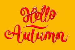 Kalligraphie mit dem Phrase hallo Herbst Übergeben Sie gezogene Beschriftung 3d in der Art, Vektorillustration Lizenzfreie Stockbilder