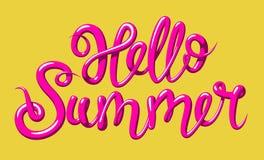 Kalligraphie mit dem Phrase hallo Sommer Übergeben Sie gezogene Beschriftung 3d in der Art, lokalisierte Vektorillustration Stockfoto