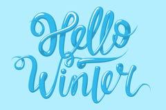 Kalligraphie mit dem Phrase hallo Winter Übergeben Sie gezogene Beschriftung 3d in der Art, Vektorillustration Stockfotos