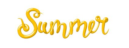 Kalligraphie mit dem Wort Sommer Hand gezeichnete Beschriftung in der Art 3d Vektor-Illustration, lokalisiert Stockfoto