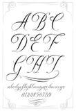 Kalligraphiealphabet mit Zahlen Lizenzfreies Stockfoto