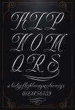 Kalligraphiebuchstaben mit Zahlen Lizenzfreies Stockbild