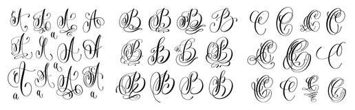 Kalligraphiebuchstaben stellten A, B und C, den Skriptguß ein, der auf Whit lokalisiert wurde Lizenzfreie Stockbilder