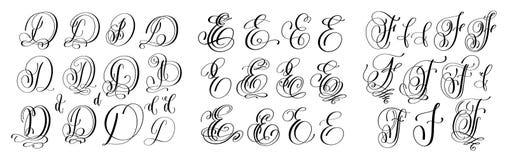 Kalligraphiebuchstaben stellten D, E und F, Skriptguß ein Lizenzfreie Stockfotos