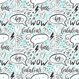 Kalligraphiehand, die nahtloses Muster beschriftet Pluszeichen, Stern, Herz, Rede sprudelt, geometrische Formen Vervollkommnen Si Lizenzfreie Stockfotos