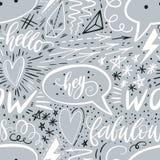 Kalligraphiehand, die nahtloses Muster beschriftet Pluszeichen, Stern, Herz, Rede sprudelt, geometrische Formen Vervollkommnen Si Stockfoto