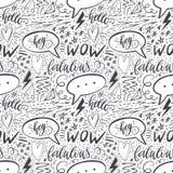 Kalligraphiehand, die nahtloses Muster beschriftet Pluszeichen, Stern, Herz, Rede sprudelt, geometrische Formen Vervollkommnen Si Stockfotografie