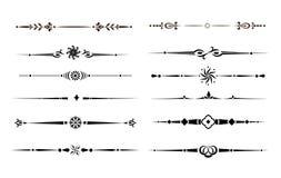 Kalligraphische Auslegungs-Elemente, Teiler und Gedankenstriche stock abbildung