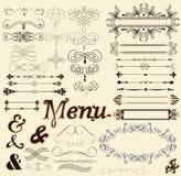 Kalligraphische Auslegungselemente und Seitendekorationen in der Retro Art Stockfoto