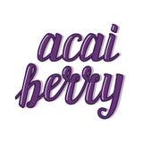 Kalligraphische Beschriftung netter acai Beere vektor abbildung