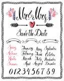 Kalligraphische Gestaltungselemente, Herr u. Frau, Monate, Zahlen und Meere stock abbildung
