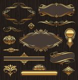 Kalligraphische goldene Felder u. Auslegungelemente Stockfotografie