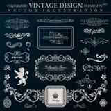 Kalligraphische heraldische Dekorelemente Vektorweinleserahmen lizenzfreie abbildung