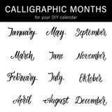 Kalligraphische Monate des Jahres für Ihren DIY-Kalender entwerfen Moderner Kalligraphiesatz Stockfotos