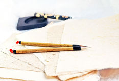 Kalligraphische noch Lebensdauer lizenzfreie stockbilder