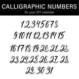 Kalligraphische Zahlen für Ihr DIY-Kalenderdesign Moderner Kalligraphiesatz Stockfotografie