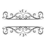 Kalligraphischer Flourishrahmen Dekorativer aufwändiger Rand Strudel, Locken, verzeichnen mit Filigran geschmückte Gestaltungsele vektor abbildung