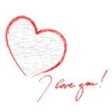Kalligraphischer Hintergrund für Valentinstag Stockbild