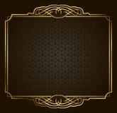 Kalligraphischer Retro- Vektorgoldrahmen auf dunklem Hintergrund stock abbildung