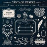 Kalligraphischer Weinleseverzierungssatz Glückliches Valentinstagdesign-EL Stockbilder