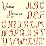 Kalligraphisches Alphabet der englischen Weinlese Stockfotografie