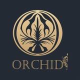 Kalligraphisches Auslegungelement Goldenes Logo Stockfoto