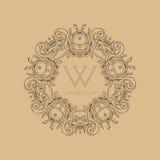 Kalligraphisches elegantes Blumenmonogrammdesign stockbild