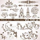 Kalligraphisches und Blumenelement Stockbilder