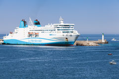 Kalliste ferry moored in port of Propriano Royalty Free Stock Image
