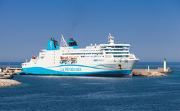 Kalliste ferry ship moored in port of Propriano. Propriano, France - July 4, 2015: Kalliste ferry ship moored in port of Propriano, South region of Corsica Stock Image