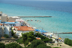 Kallithea beach, Halkidiki Greece summer 2016. Kallithea village at Kassandra peninsula, is a large local shopping center with many night life options stock photography